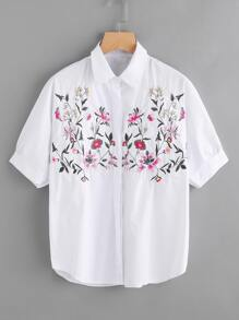 Botanical Embroidered Front Blouse