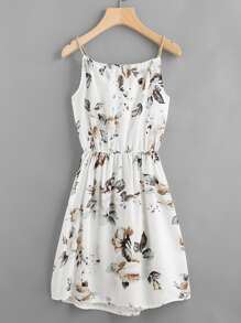 Camikleid mit Blumenmuster, Kordelzug und elastischer Taille