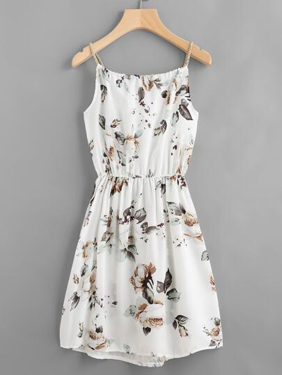 Floral Print Random Drawstring Elastic Waist Cami Dress