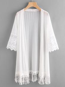 Embroidered Mesh Panel Fringe Hem Kimono