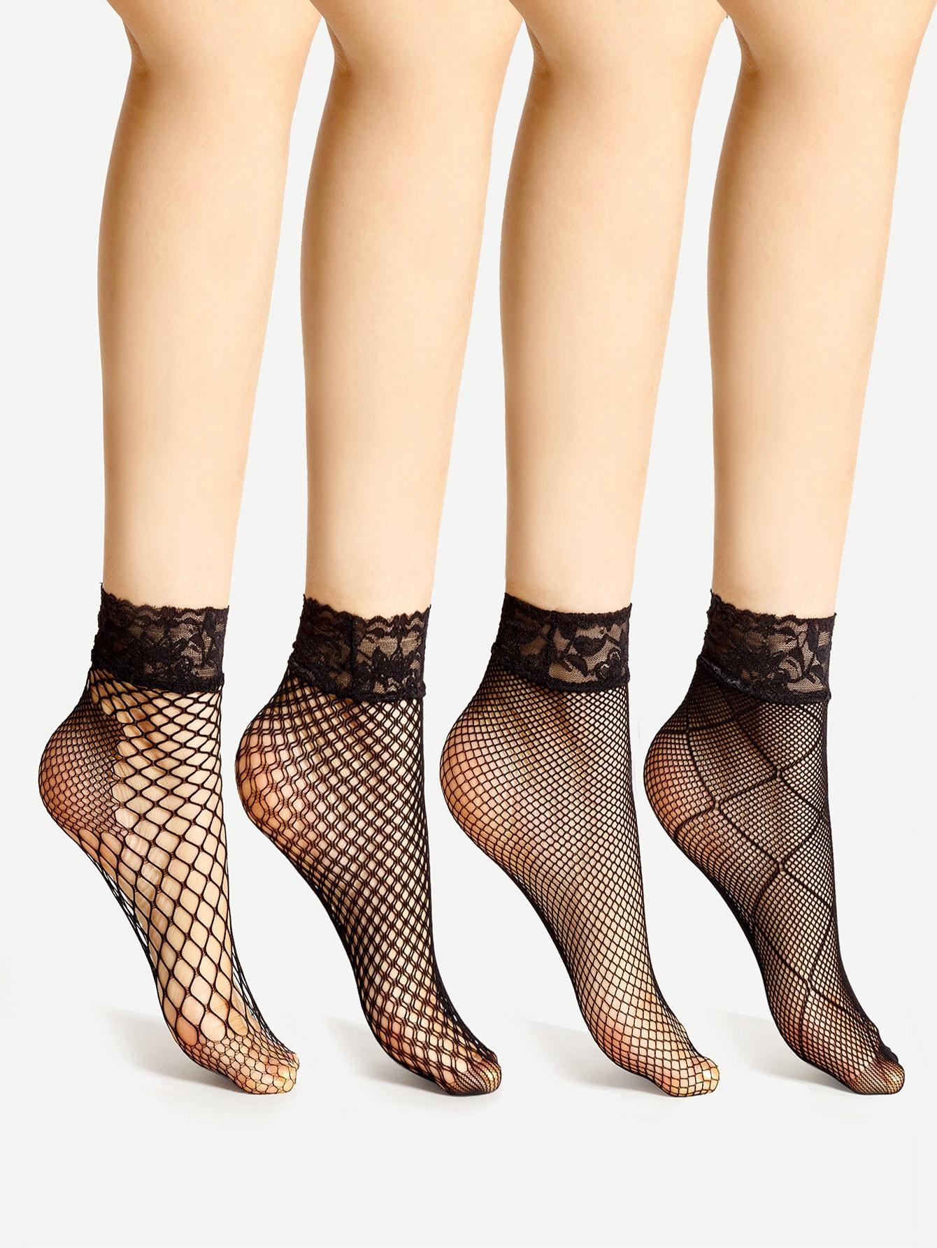 Lace Trim Fishnet Ankle Socks 4 Pairs fishnet ankle socks