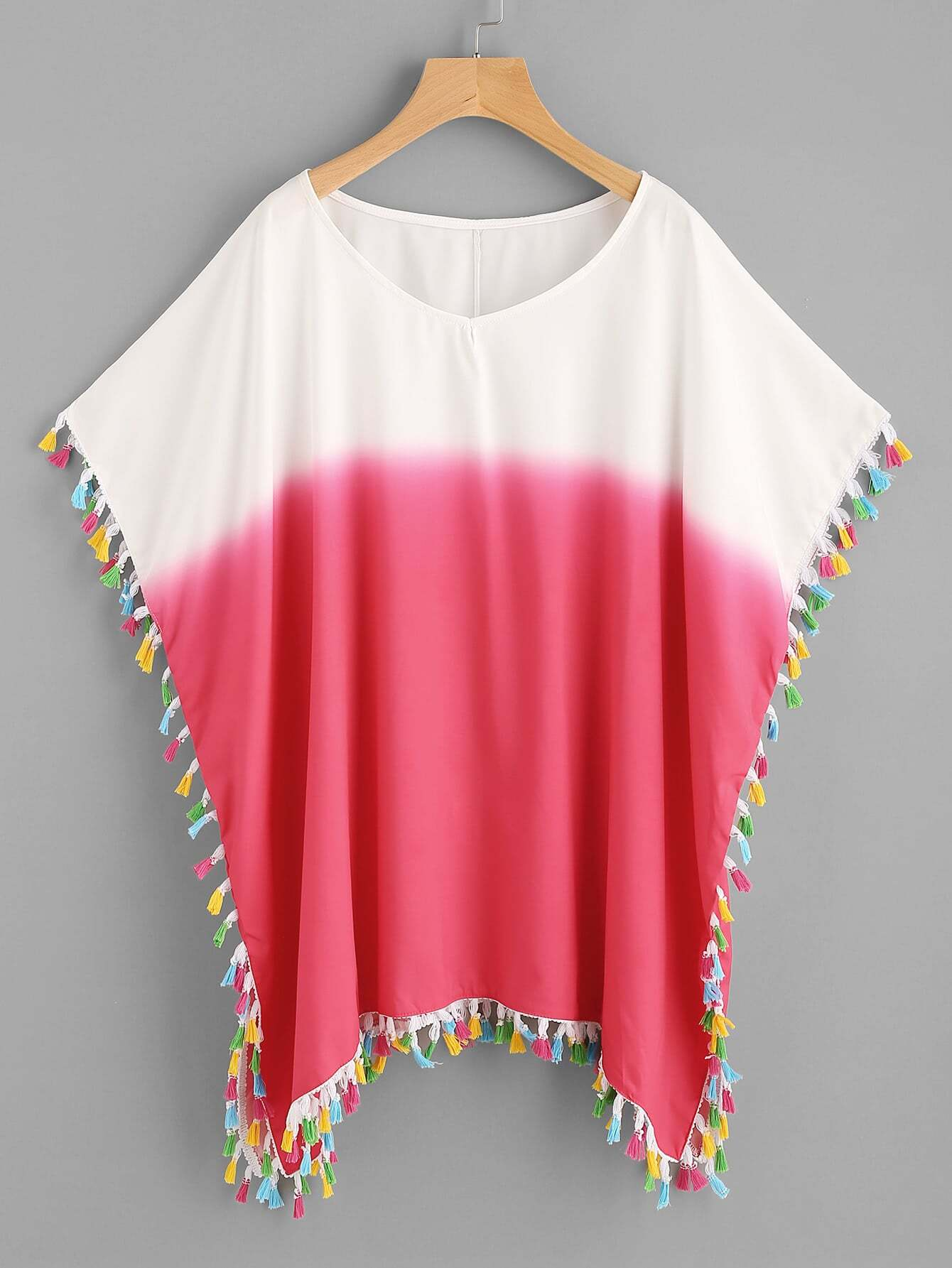 Фото Color Block Tassel Trim Beach Kaftan. Купить с доставкой
