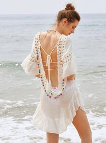 Crochet Insert Backless Tassel Tie Pom Pom Cover Up