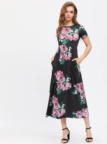 Side Pocket Detail Flower Print Empire Waist Dress