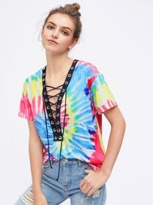 Tee-shirt contrasté teint à lacets col en V