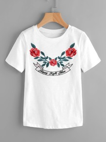 Rose Embroidered Slub Tee