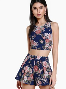 Floral Print Open Back Crop & Matching Short Set NAVY