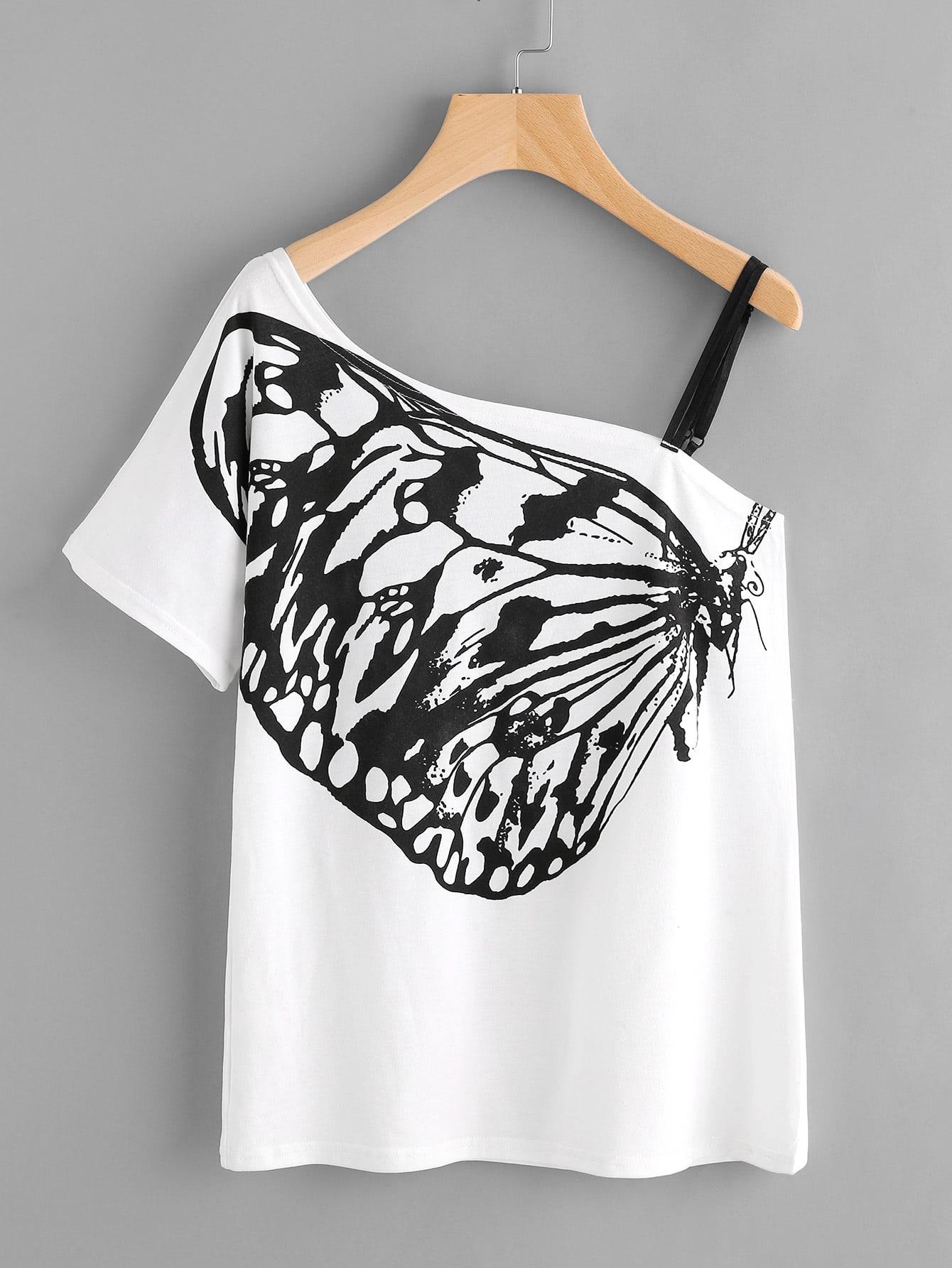 Фото Butterfly Print Oblique Shoulder Tee With Strap Detail. Купить с доставкой