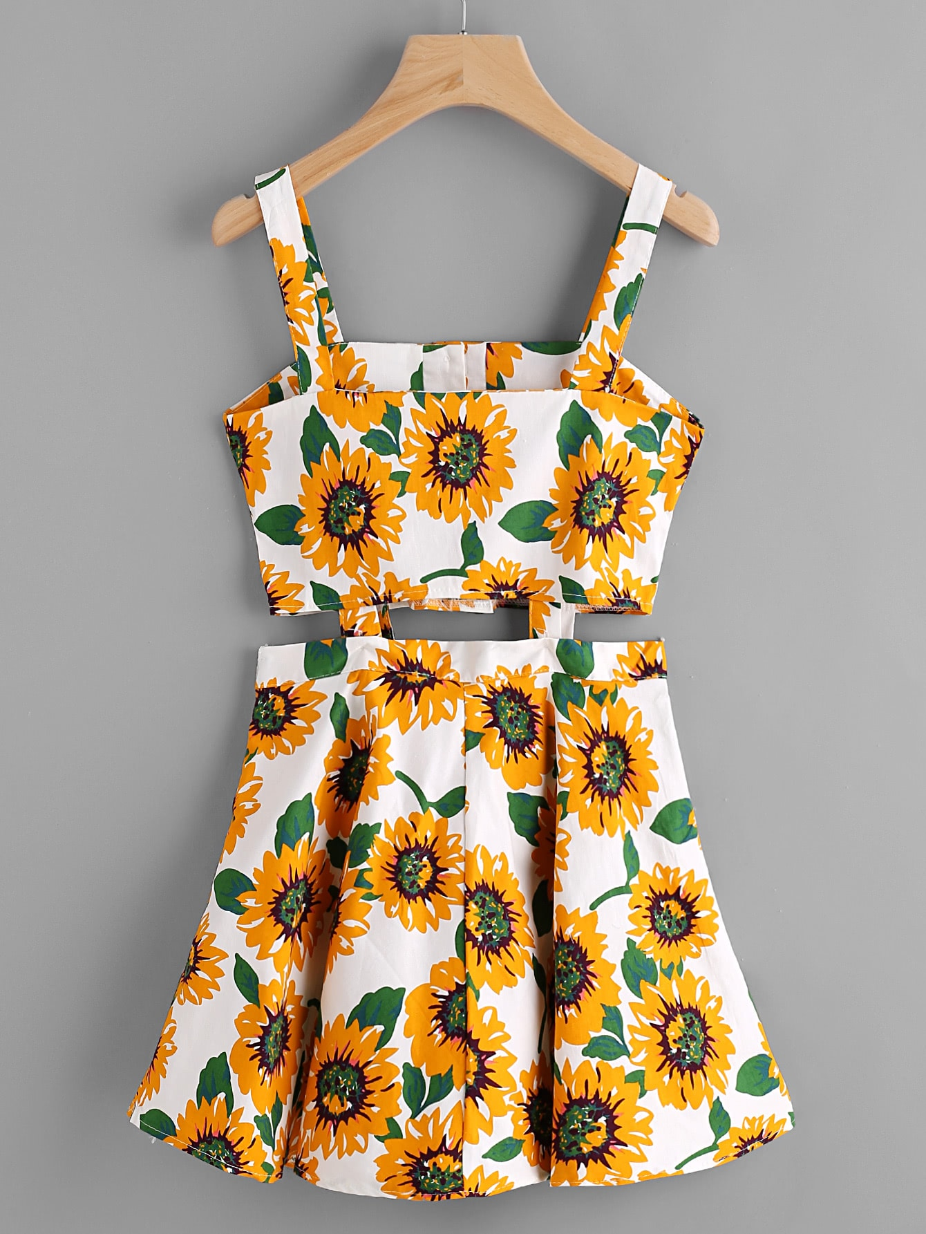 Sunflower Print Random Single Breasted Cut Out Dress