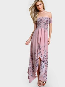 Shirred Top Bardot Sleeve Split Hem Dress MAUVE