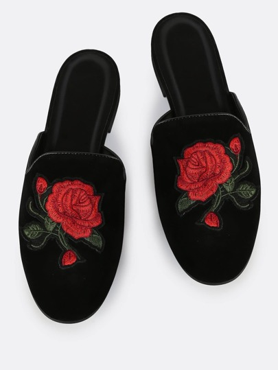 Rose Embroidered Slip On Loafers BLACK