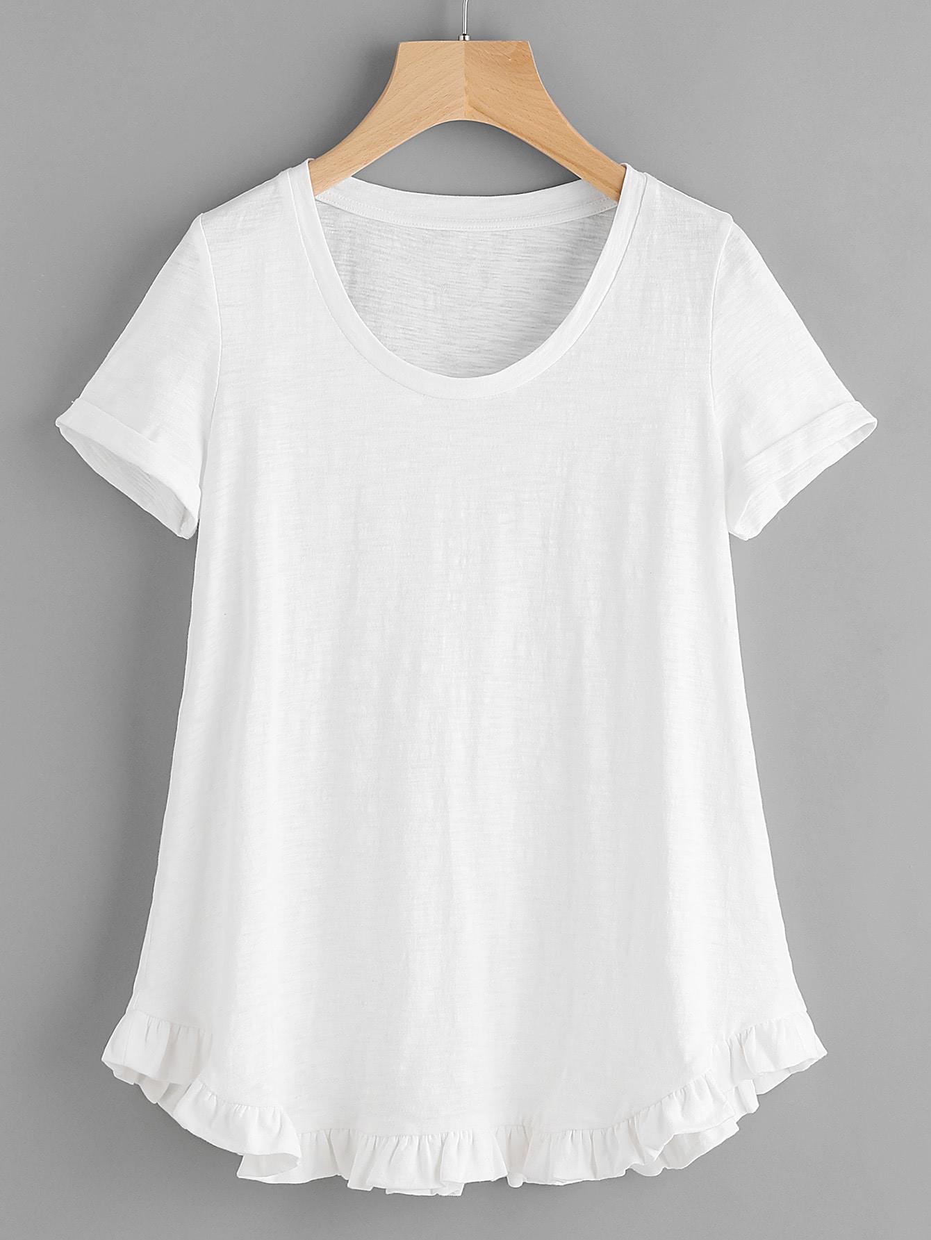 Roll Cuff Ruffle Trim Slub T-shirt asymmetrical ruffle trim t shirt