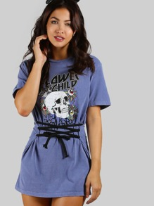 Flower Child Skull Tunic Dress BLUE