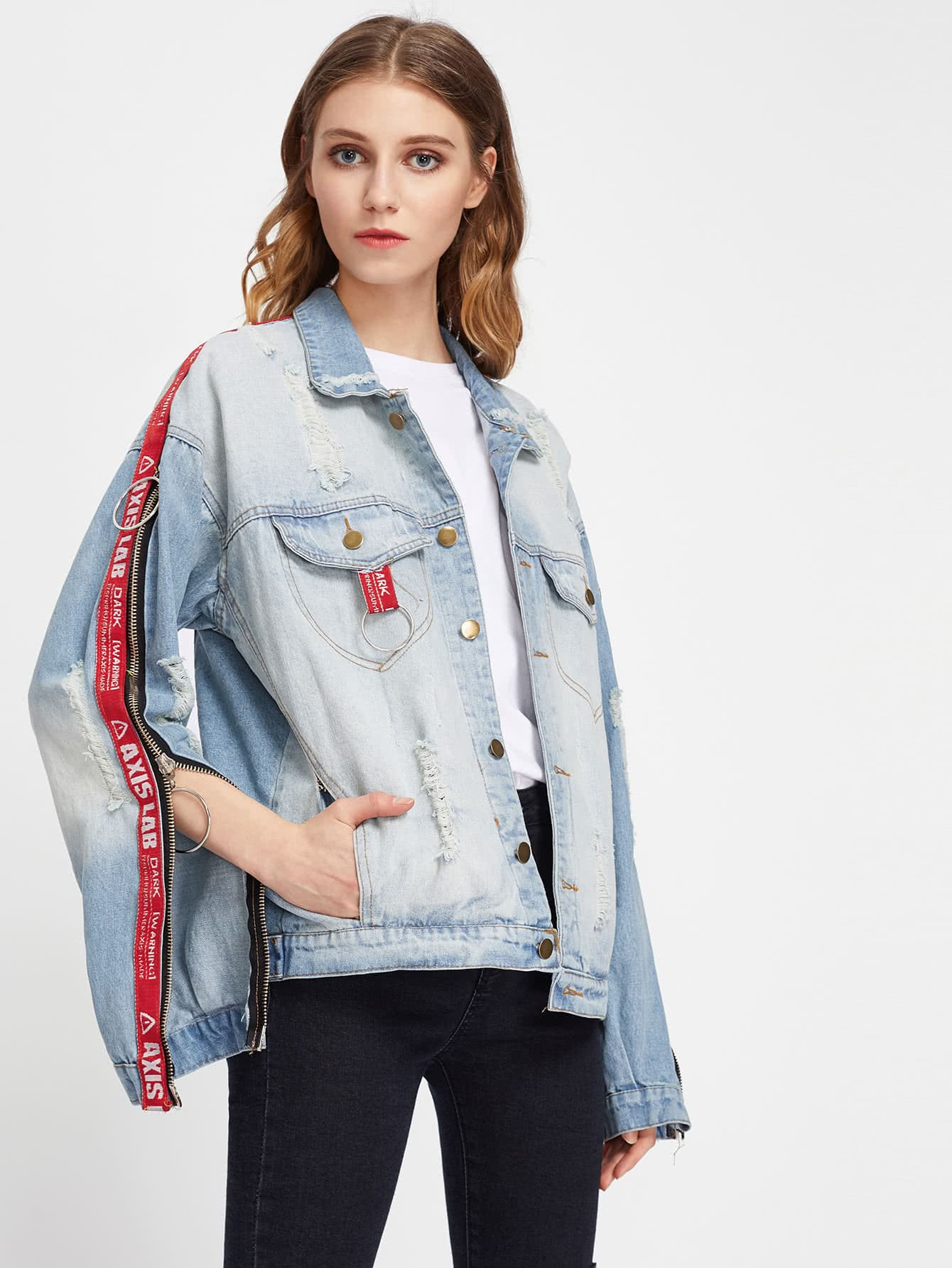 O-Ring Letter Tape Detail Zipper Ripped Denim Jacket ripped stitch detail denim jacket