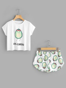 T-shirt con stampa di cartoon ,con pantaloncini