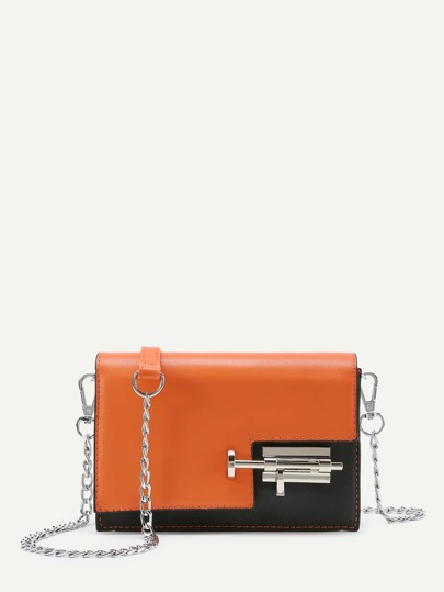 Kontrast PU Flap Bag Umhängetasche