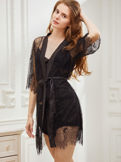 Floral Eyelash Lace Robe With Belt