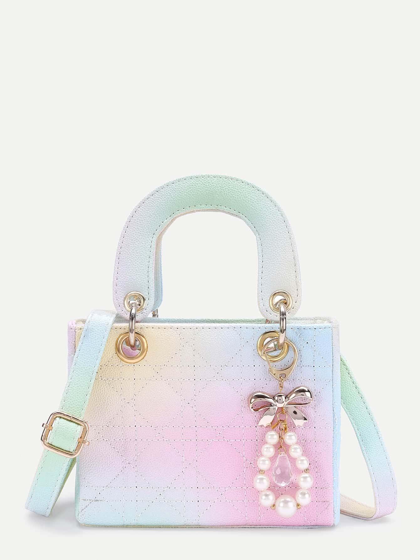 Faux Pearl Embellished Shoulder Bag With Handle