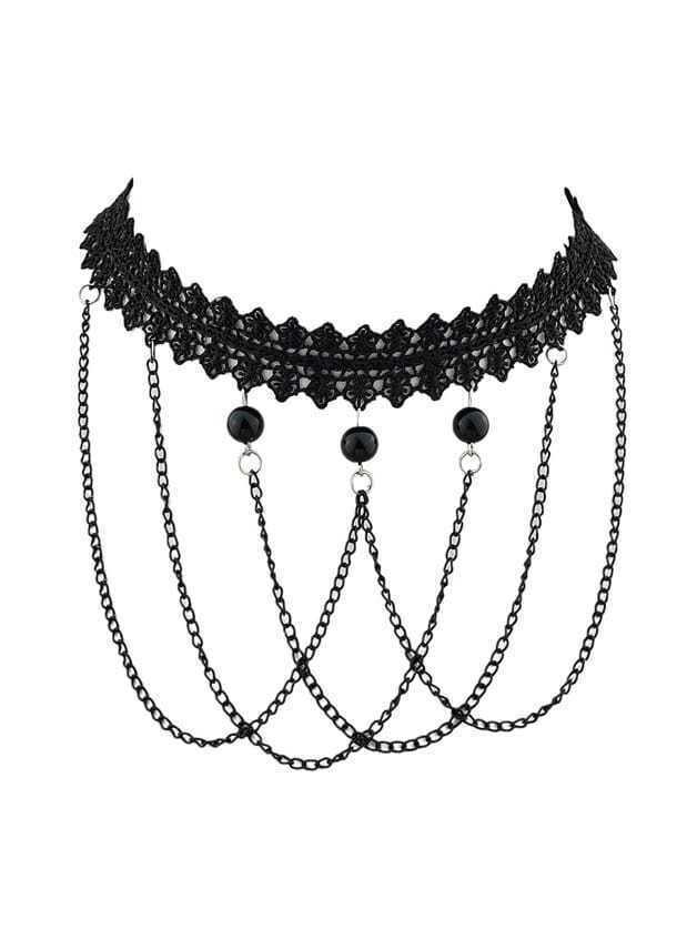 Фото Black Chain Lace Flower Statement Choker Collar Necklaces. Купить с доставкой