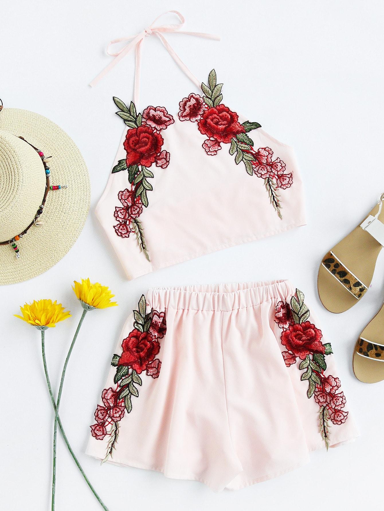 Фото Rose Applique Crop Top With Shorts. Купить с доставкой