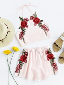 Rose Applique Crop Top With Shorts