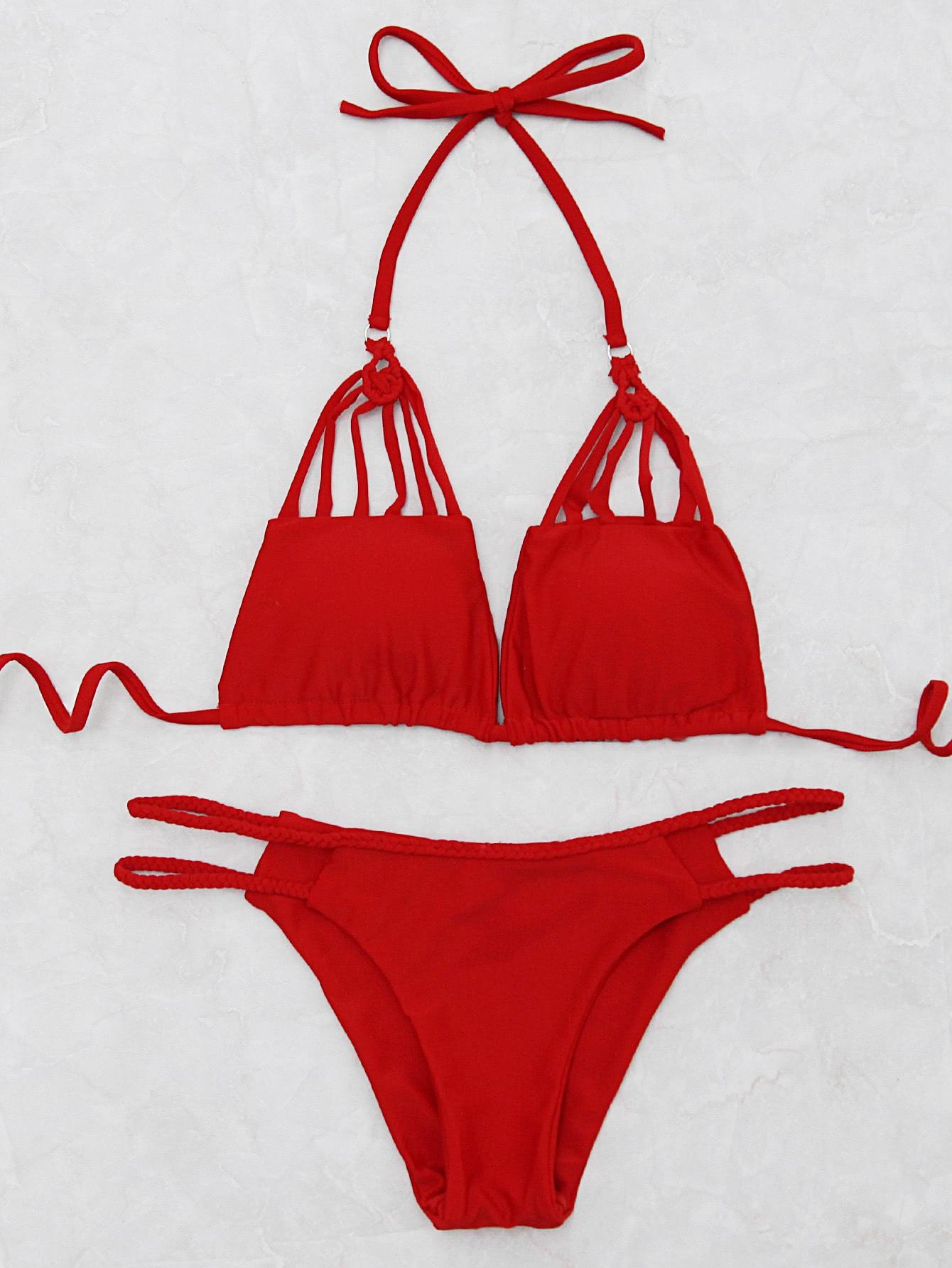 Фото Braided Detail Ladder Cutout Bikini Set. Купить с доставкой