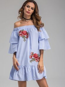 Bardot Neckline Striped Flower Patches Frill Dress
