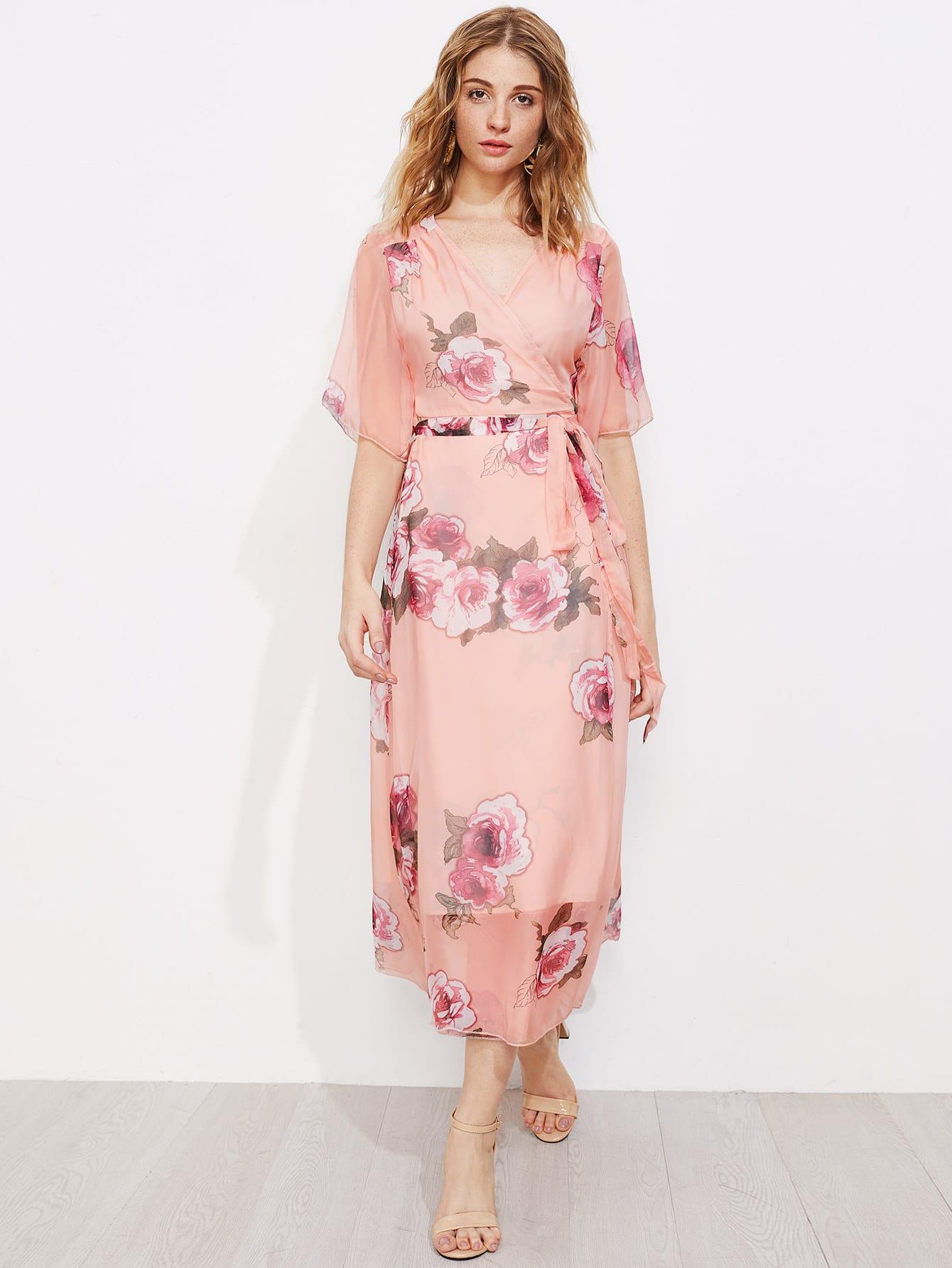 Фото Surplice Front Tie Waist Floral Dress. Купить с доставкой