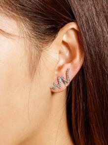 Rhinestone Decorated Wave Design Mismatch Ear Cuffs