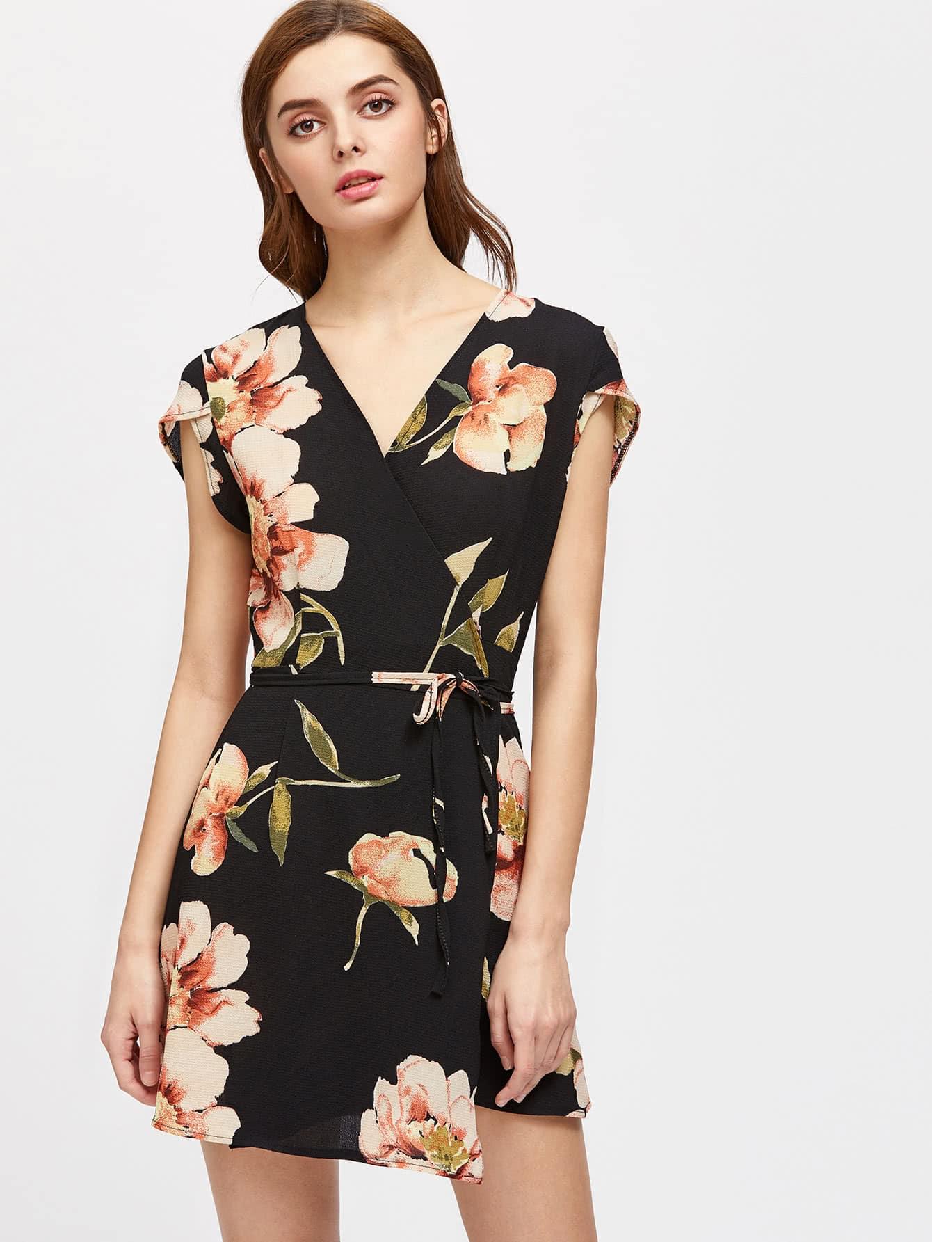 Фото Flowers Print Cap Sleeve Wrap Dress. Купить с доставкой