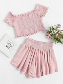 Smocked Lettuce Edge Top And Wide Leg Shorts Co-Ord