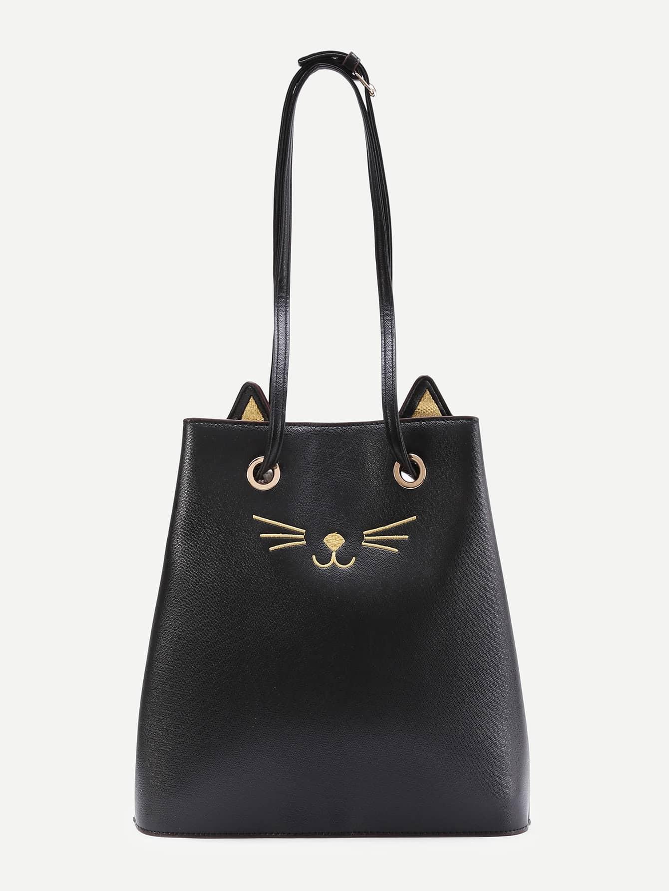 Фото Cat Pattern PU Tote Bag With Cute Ear. Купить с доставкой