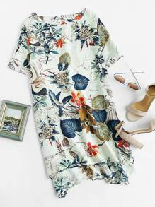 Tropical Print High Low Dress