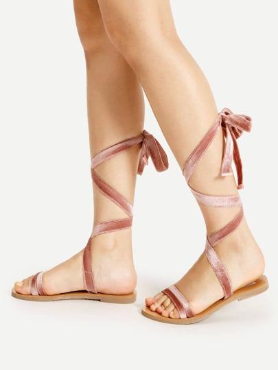 Velvet Lace Up Flat Sandals