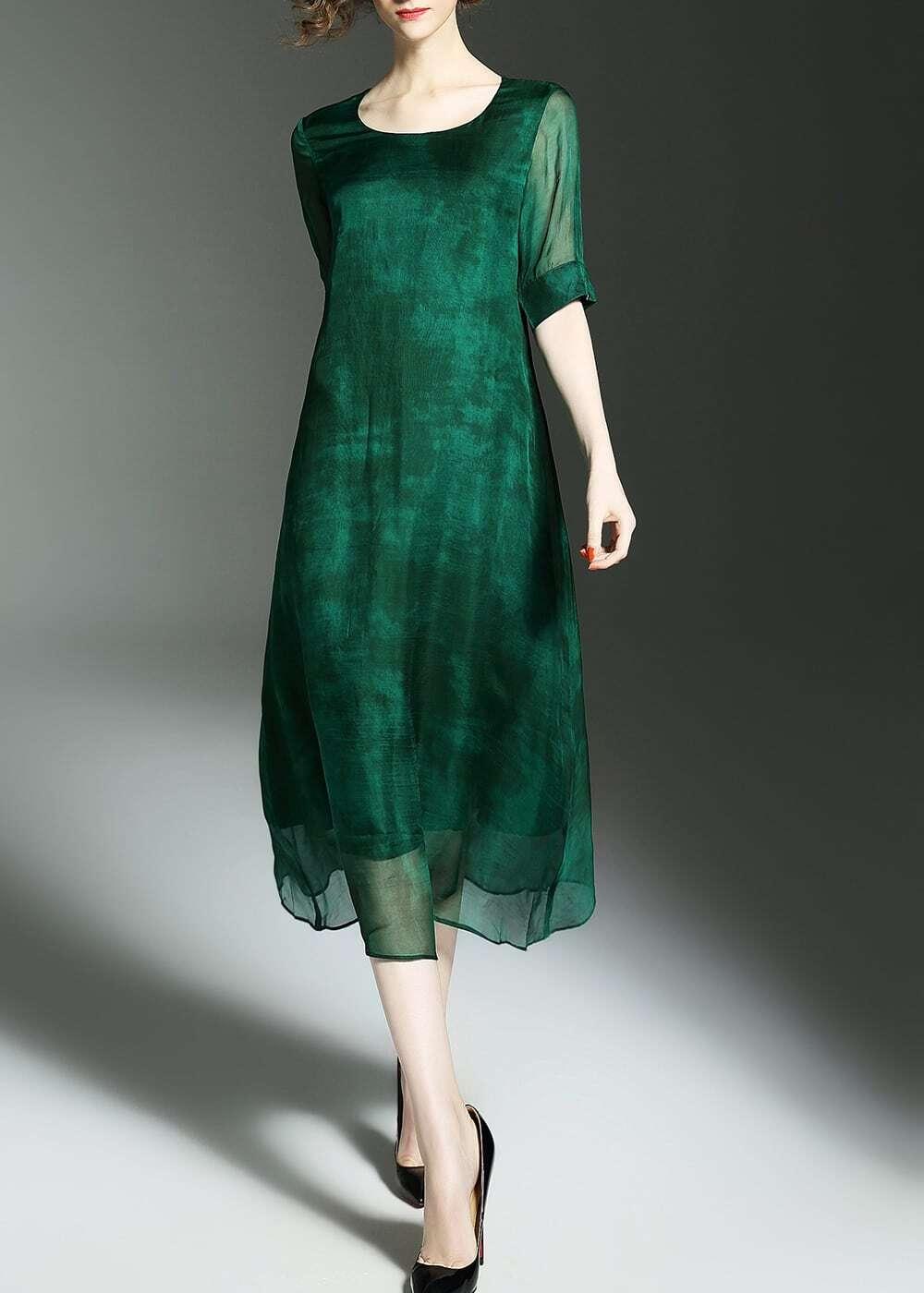 Фото Crew Neck Sheer Long Dress. Купить с доставкой
