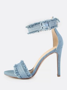 Frayed Denim Ankle Strap Heels LIGHT DENIM