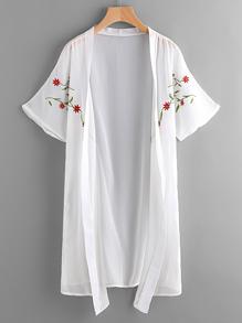Kimono mousseline brodé symétrique