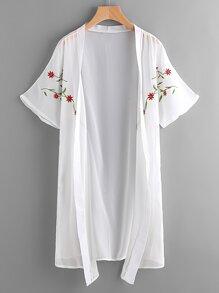 Symmetric Embroidered Chiffon Kimono