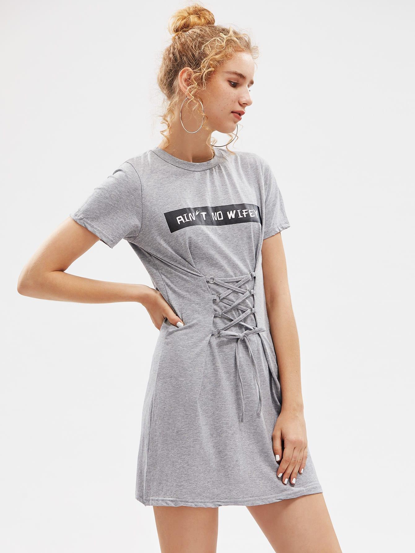 Фото Letter Print Lace Up Corset Dress. Купить с доставкой