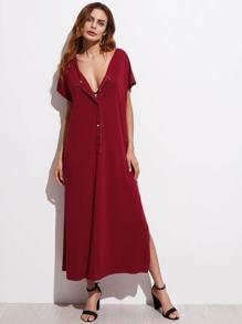 Button Front Slit Maxi Dress