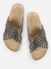 Grommet Cross Band Sandals KHAKI