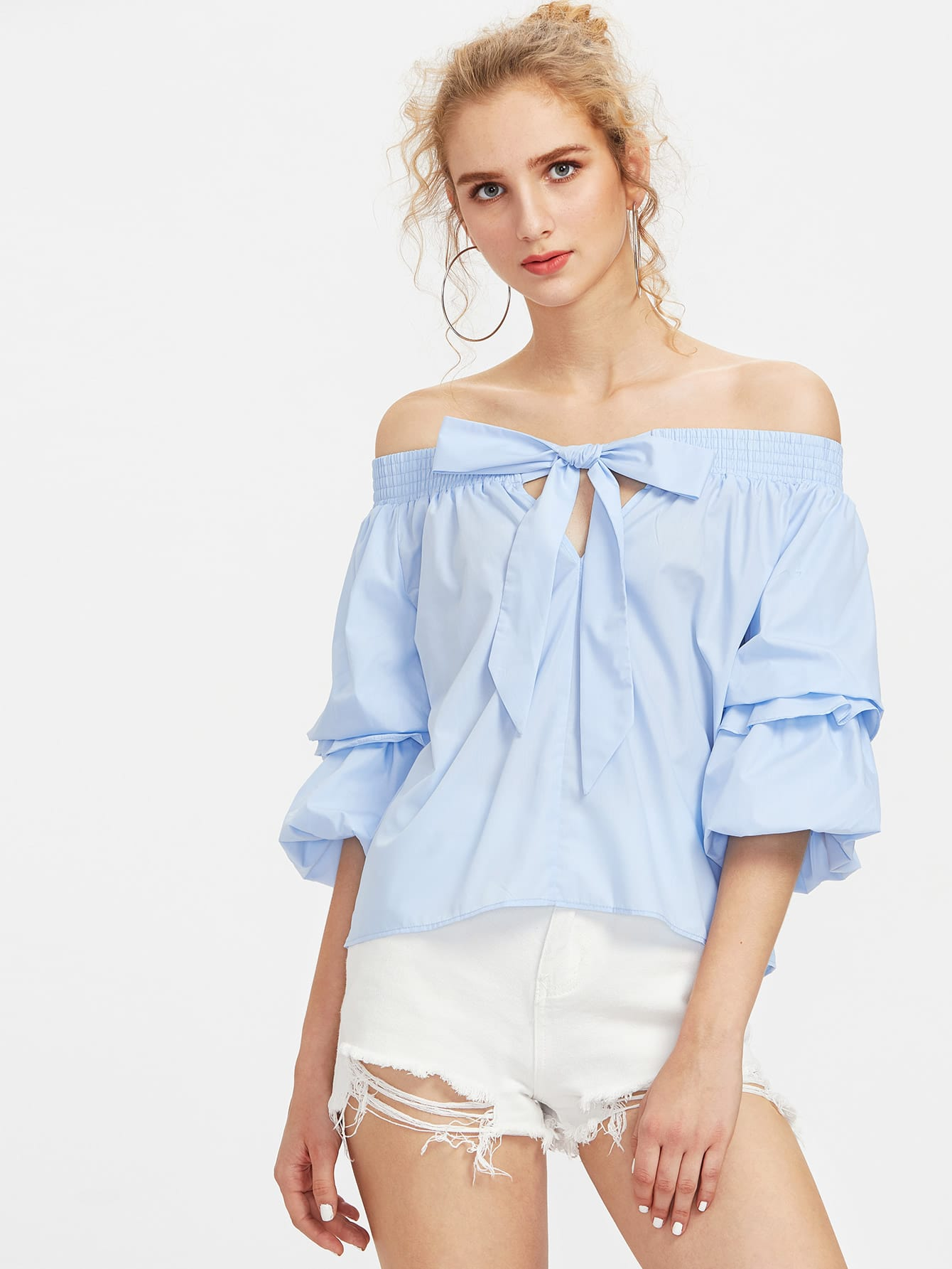 Фото Bardot Lantern Sleeve Top With Bow. Купить с доставкой