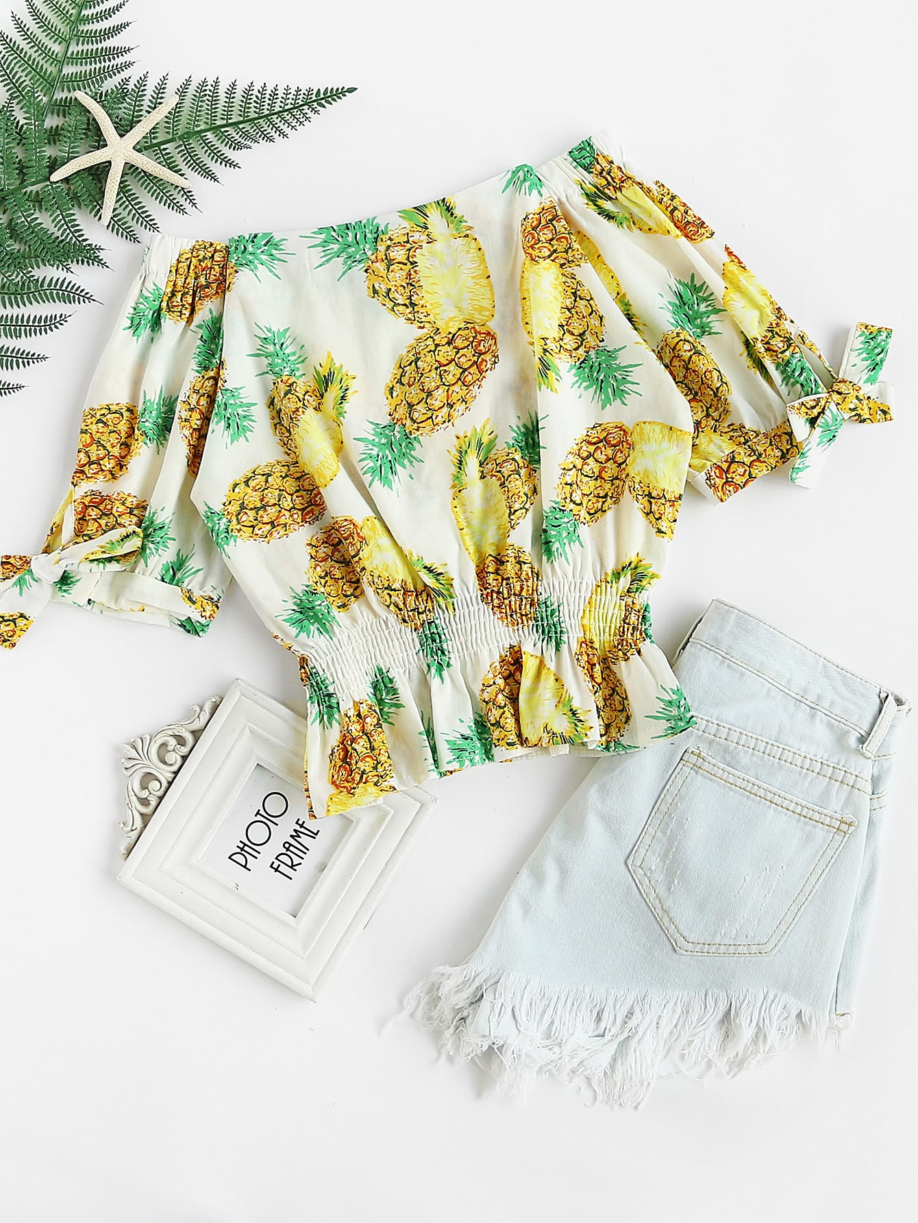 Bardot Pineapple Print Shirred Top flower print shirred bardot top