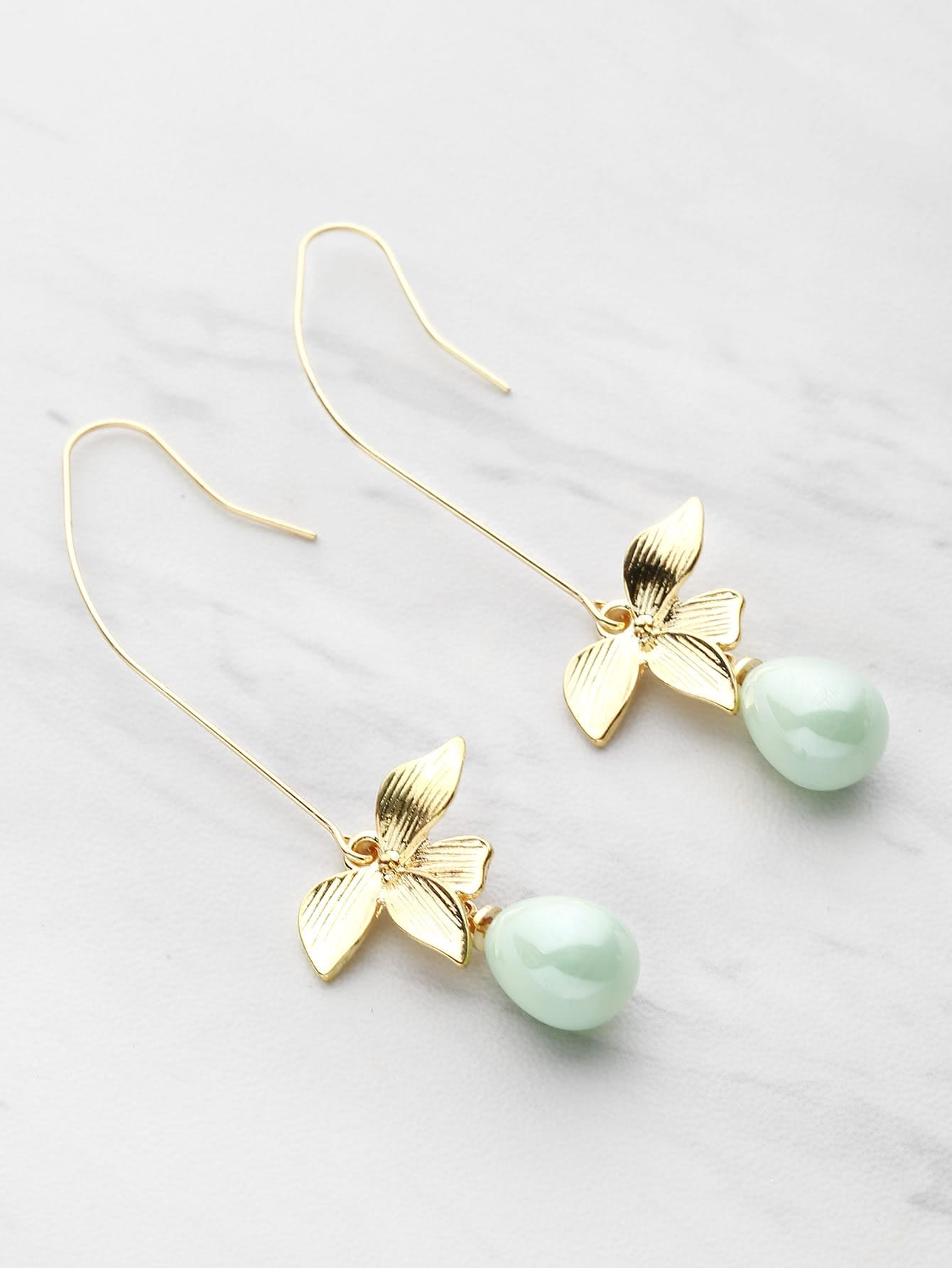 Faux Pearl And Metal Leaf Drop Earrings faux pearl ball drop earrings