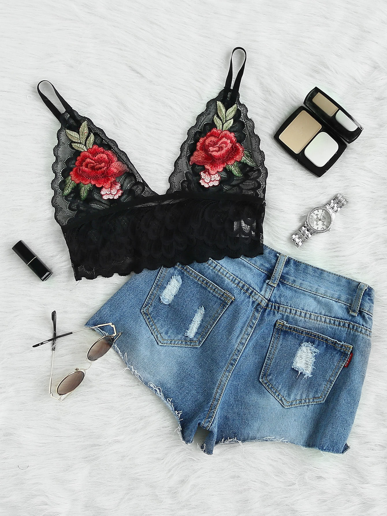 Embroidered Flower Patch Wide Band Comfy Bralette conception of patch antenna at wide band