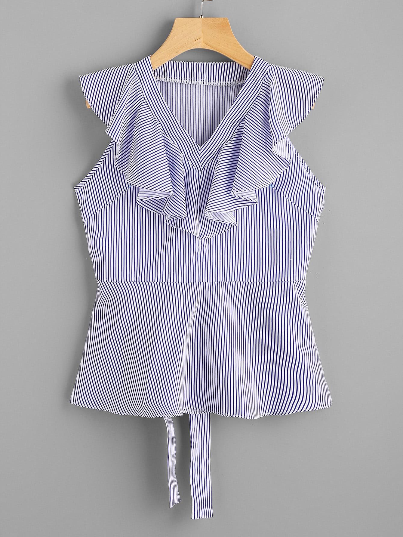 Фото V-neckline Flounce Trim Tie Back Pinstripe Top. Купить с доставкой