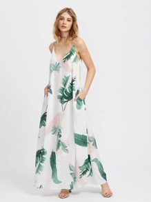 Jungle Leaf Print Hidden Pocket Side Cami Dress