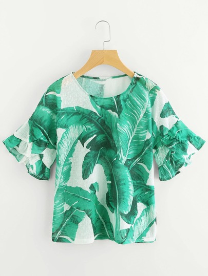 Palm Leaf Print Frill Cuff Top