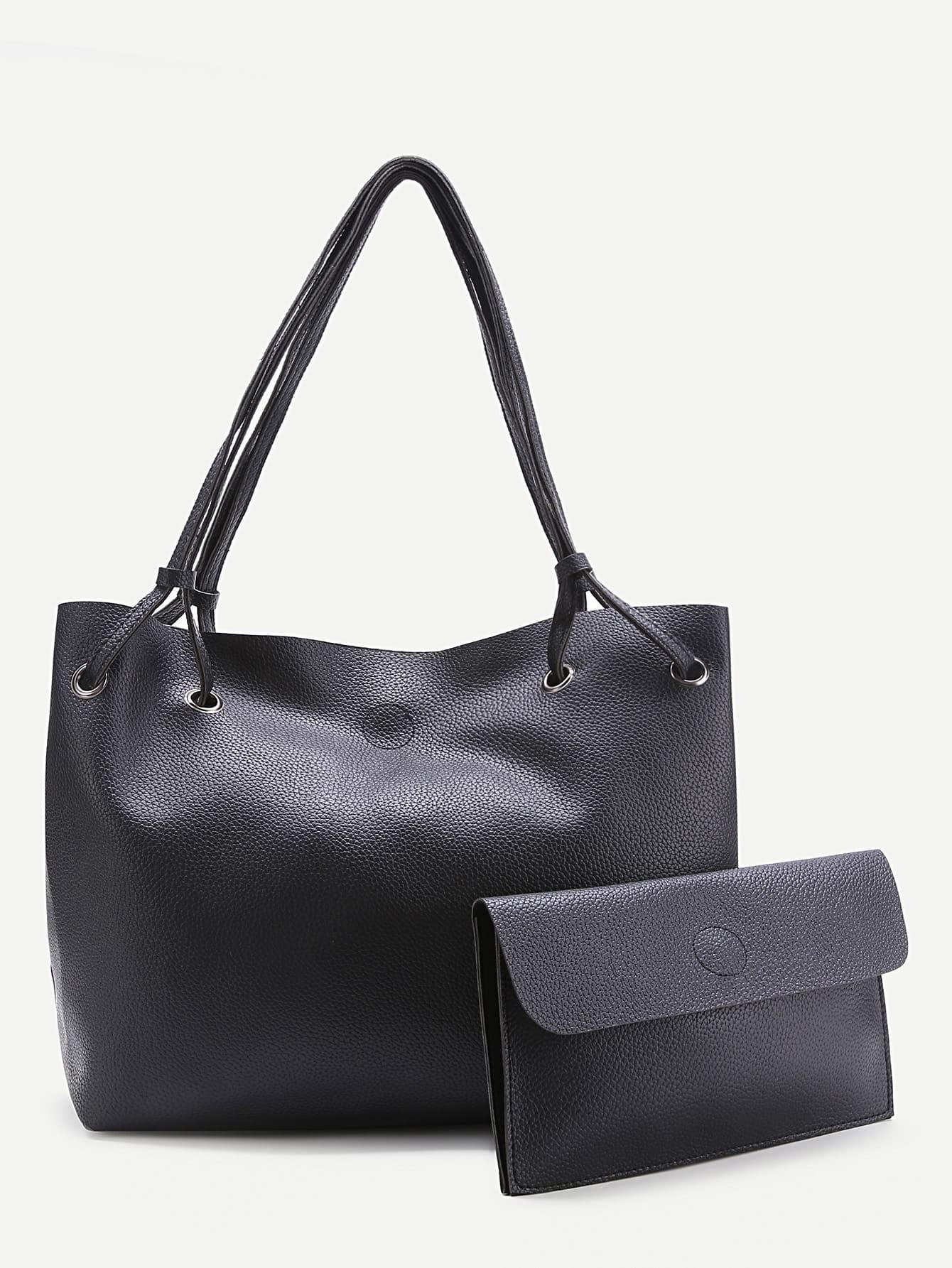 Фото PU Tote Bag With Foldover Clutch Bag. Купить с доставкой