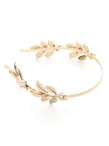 Faux Pearl & Leaf Embellished Headband
